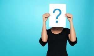 a woman with questions
