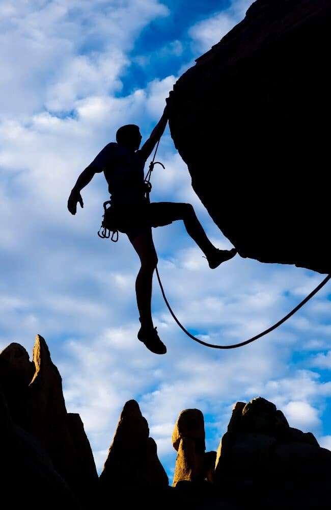a confident rock climber